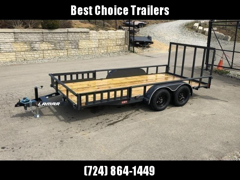 "2020 Lamar 7x16' ATV Utility Trailer 7000# GVW * CHANNEL FRAME * ATV SIDE RAMPS * CHARCOAL * 2x2"" TUBE GATE W/ SPRING ASSIST * COLD WEATHER HARNESS * 4"" CHANNEL TONGUE * STAKE POCKETS * TEARDROP FENDERS * BULLET LED'S"