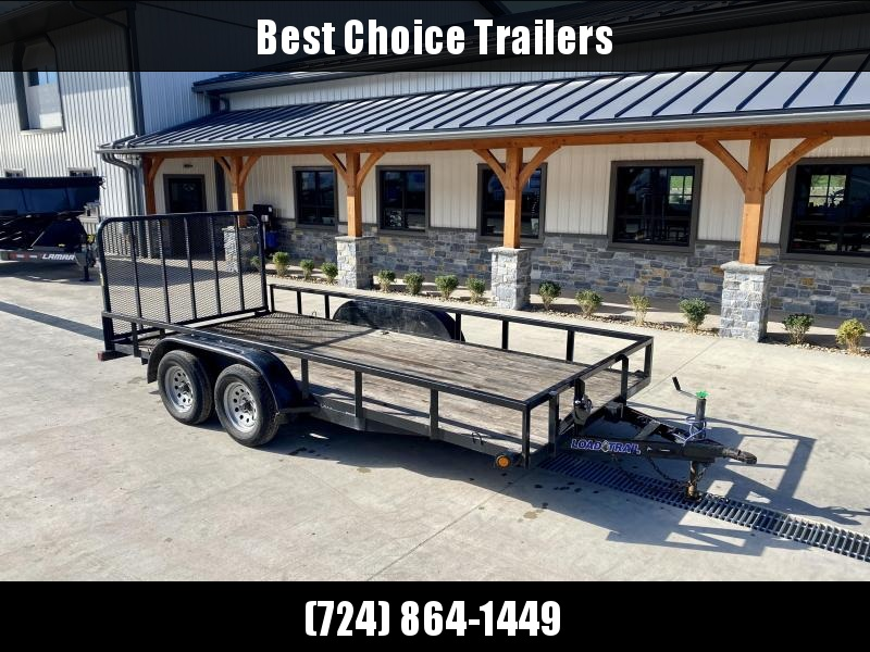 USED 2020 Load Trail 7x16' Utility Landscape Trailer 7000# GVW * TUBE TOP * SPARE TIRE MOUNT * D-RINGS * COLD WEATHER HARNESS * TUBE GATE