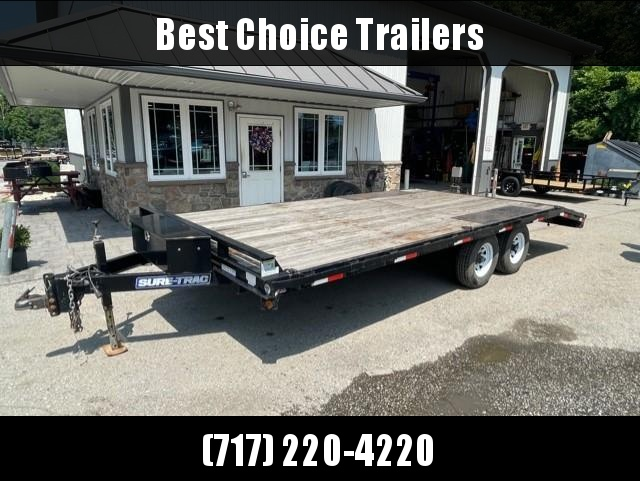 USED 2016 Sure Trac 102x20' Beavertail Deckover Flatbed Trailer 9900# GVW * POP UP DOVETAIL * SLIDE IN RAMPS * TOOLBOX