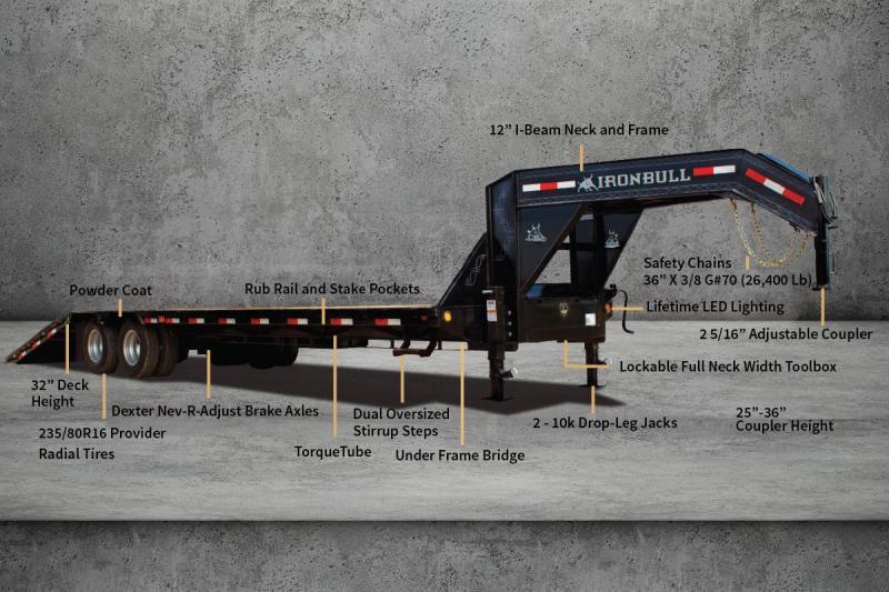 2021 Ironbull 102x32' Gooseneck Deckover Hydraulic Dovetail Trailer 24000# GVW * DEXTER 12K AXLES * EOH DISC BRAKES * BLACKWOOD TAIL * I-BEAM FRAME * TORQUE TUBE * UNDER FRAME BRIDGE * RUBRAIL/STAKE POCKETS/PIPE SPOOLS/D-RINGS * DUAL JACKS