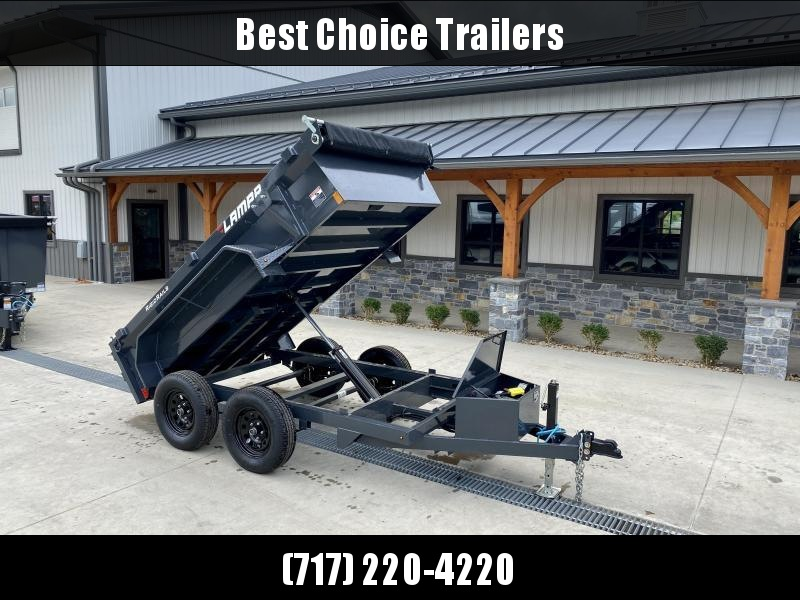 """2021 Lamar 5x10' Deluxe Dump Trailer 7000# GVW * COMBO GATE * DELUXE TARP KIT * 7K JACK UPGRADE * UNDERMOUNT RAMPS * CHARCOAL * ADJUSTABLE COUPLER * RIGID RAILS * 110V CHARGER * DOUBLE CHANNEL FRAME * 10GA FLOOR * POWER UP/DOWN * 4"""" CHANNEL BED FRAME"""