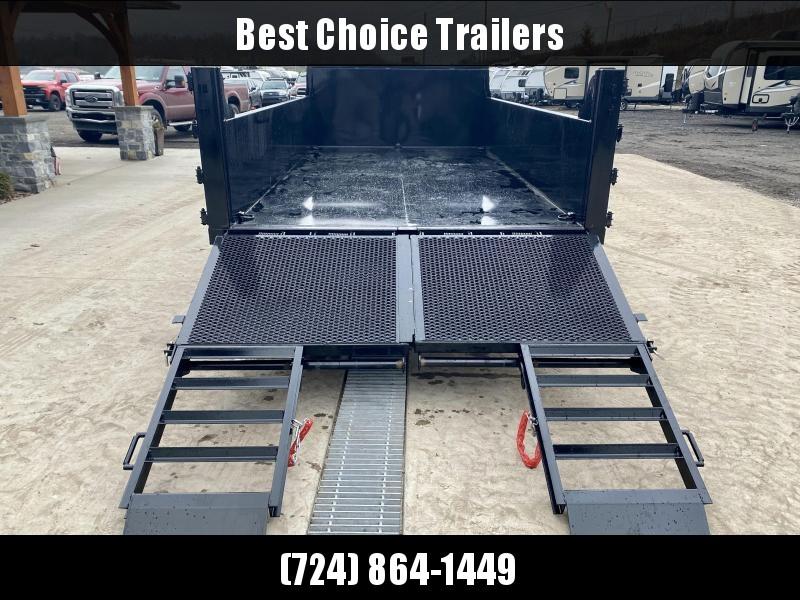 2021 Quality Steel and Aluminum 7x14' Dump Trailer 14000# GVW * TELESCOPIC HOIST * FRONT/REAR BULKHEAD * STAB JACKS * RAMP/BARN DOOR COMBO GATE * ADJUSTABLE COUPLER * DROP LEG JACK * D-RINGS * SPARE TIRE MOUNT * TARP PREP