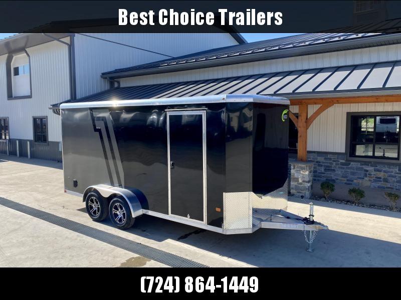 "2022 NEO 7x16' NAC Aluminum Bullnose Enclosed Cargo Trailer  * 7' HEIGHT UPG * JD SLASH 2-TONE * BLACK AND CHARCOAL * ALUMINUM WHEELS * 16"" O.C. WALLS/CEILING * RAMP DOOR"