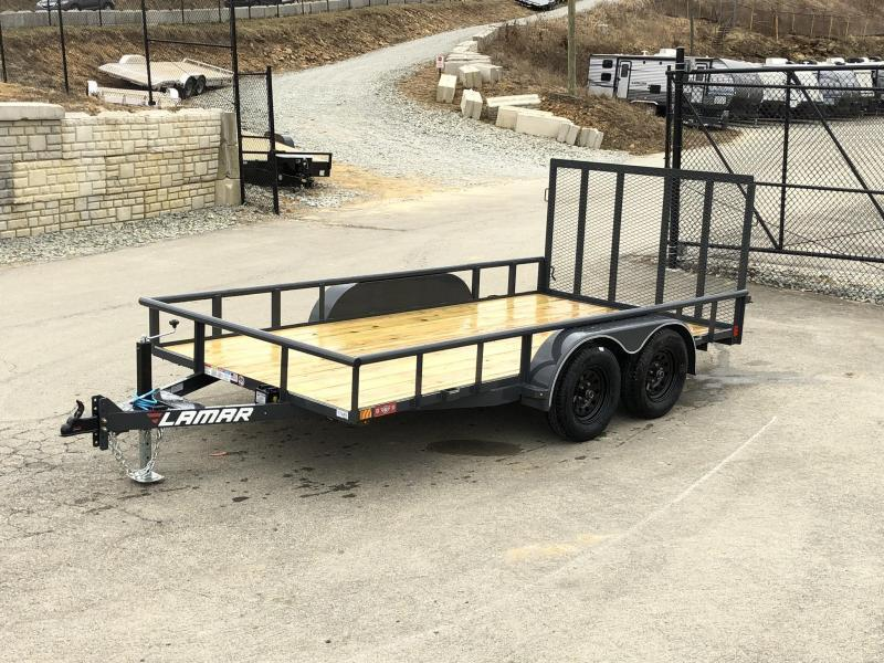 "2020 Lamar 7x14' Deluxe Utility Landscape Trailer 7000# GVW * ADJUSTABLE COUPLER * PIPE TOP RAIL * 7K DROP LEG JACK * CHARCOAL * HD GATE/2X2"" TUBE C/M + SPRING ASSIST * COLD WEATHER HARNESS * 4"" CHANNEL TONGUE * STAKE POCKETS * TEARDROP FENDERS * BULLET L"