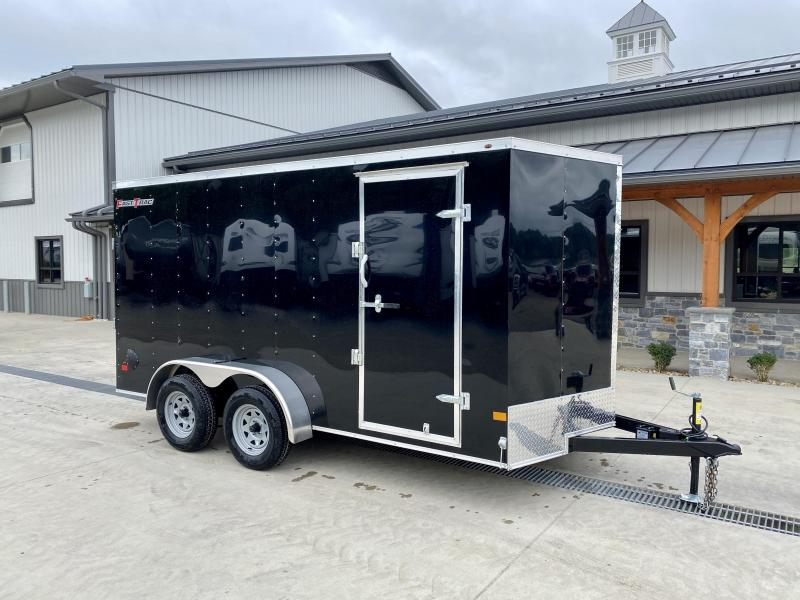 """2022 Wells Cargo 7x14' Fastrac DELUXE Enclosed Cargo Trailer 7000# GVW * BLACK EXTERIOR * RAMP DOOR * V-NOSE * .030 EXTERIOR * 6'6"""" HEIGHT * TUBE STUDS * 3/8"""" WALLS * 1 PC ROOF * 16"""" O.C. WALLS * BULLET LED'S"""