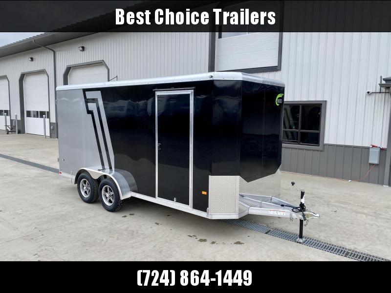"2021 NEO 7x12' NAC Aluminum Bullnose Enclosed Cargo Trailer  * 7' HEIGHT UPG * JD SLASH 2-TONE * PEWTER AND CHARCOAL * ALUMINUM WHEELS * 16"" O.C. WALLS/CEILING * BARN DOORS"