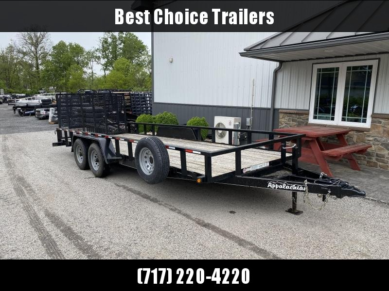 USED 2020 Appalachian 7x20' Utility Landscape Trailer 9990# GVW * SPARE TIRE * TUBE TOP * CHAIN TRAY *- HD GATE W/ SPRING ASSIST
