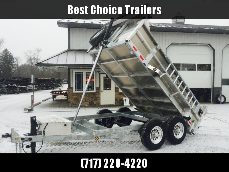 2021 QSA 7x12' Aluminum Dump Trailer 14000# GVW * RAMPS * 2' SIDES * TELESCOPIC HOIST * OVERSIZE TOOLBOX * 12K DROP LEG JACK * FRONT/REAR BULKHEAD * ALUMINUM WHEELS