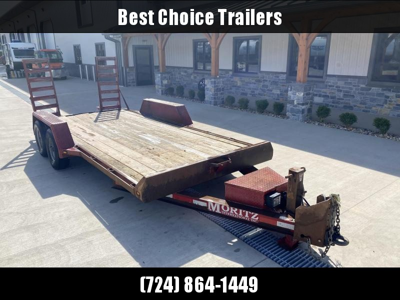 USED Moritz International 7x16' Equipment Trailer 9950# GVW * STAND UP RAMPS * ADJUSTABLE HD COUPLER * 12K JACK * TOOLBOX * RUBRAIL/STAKE POCKETS * SPARE TIRE MOUNT * TORSION * HD FENDERS