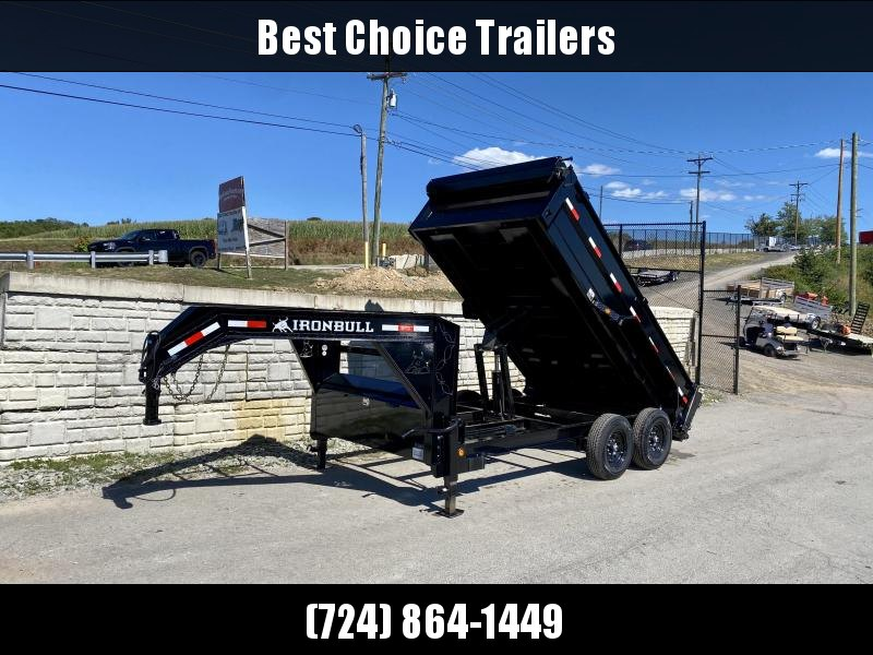 "2020 Iron Bull 7X14' Gooseneck Dump Trailer 14000# GVW * 7 GAUGE FLOOR * 36"" SIDES * TARP KIT * DUAL 12K JACKS * REAR SUPPORT STANDS * D-RINGS * DEXTER AXLES * SCISSOR HOIST * TOOLBOX"