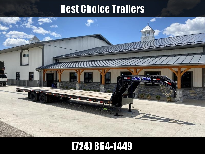 2021 Load Trail 102x32' Gooseneck Flatbed Deckover Trailer 22000# GVW * STRAIGHT DECK WITH 8' SLIDE IN RAMPS * HDSS SUSPENSION * UNDERMOUNT TOOLBOX * WINCH PLATE * EXTRA SIDE MARKERS * OIL BATH HUBS * DUAL JACKS * RUBRAIL/STAKE POCKETS/PIPE SPOOL