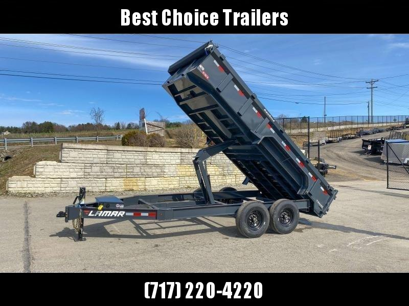"2021 Lamar 7x16' Dump Trailer 14000# GVW * 7GA FLOOR * 14-PLY TIRES * TARP KIT * UNDERMOUNT RAMPS * SCISSOR HOIST * 12K JACK * CHARCOAL * RIGID RAILS * HD COUPLER * NESTLED I-BEAM FRAME 28"" H * 3-WAY GATE * 12"" O.C. C/M"