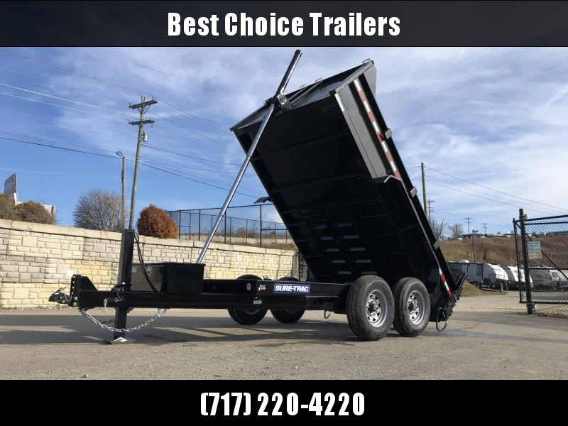 2021 Sure-Trac 7x12' Dump Trailer 12000# GVW * 7 GA FLOOR * HYDRAULIC JACK * DELUXE TARP KIT * TELESCOPIC HOIST * FRONT/REAR BULKHEAD * INTEGRATED KEYWAY * 2' SIDES * UNDERBODY TOOL TRAY * ADJUSTABLE COUPLER * COMBO GATE