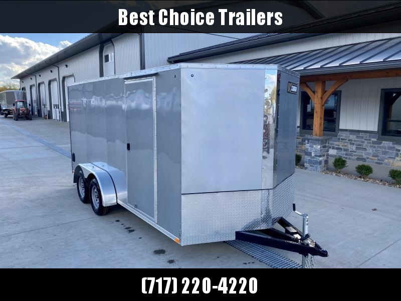 """2021 ITI Cargo 7x16' Enclosed Cargo Trailer 7000# GVW * CHARCOAL EXTERIOR * .030 SEMI-SCREWLESS * 1 PC ROOF * 6'6"""" INTERIOR * 3/8"""" WALLS * 3/4"""" FLOOR * PLYWOOD * 24"""" STONEGUARD * HIGH GLOSS PAINTED FRAME * RV DOOR"""
