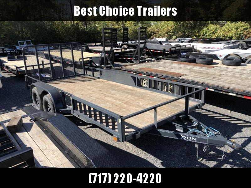 USED 2019 X-On 7x16' ATV Utility Trailer 7000# GVW * ATV RAMPS * CHARCOAL * TUBE GATE