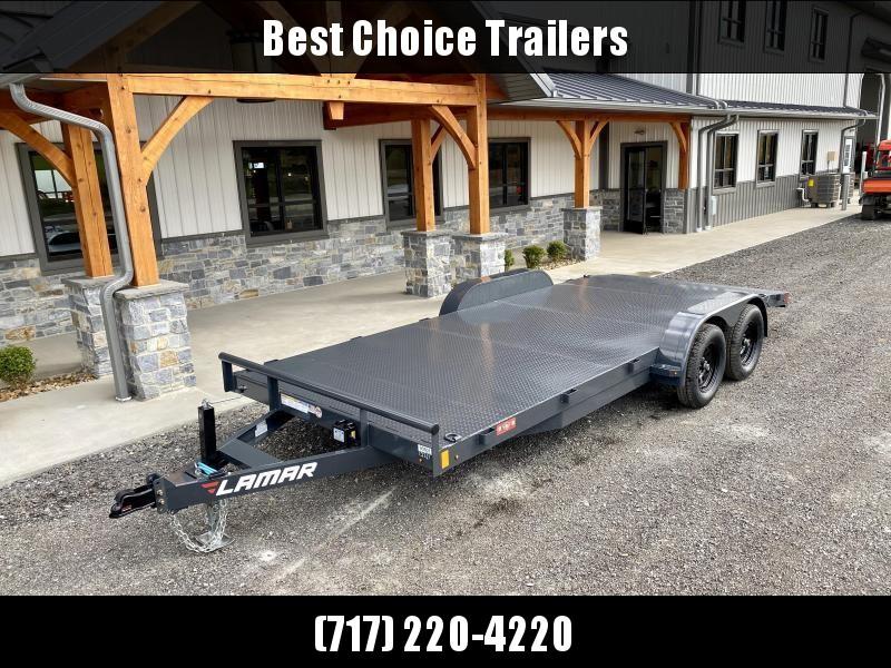 "2021 Lamar 7x18 7000# Wood Deck Car Hauler Trailer * 11GA STEEL DECK * ADJUSTABLE COUPLER * DROP LEG JACK * REMOVABLE FENDERS * EXTRA STAKE POCKETS * CHARCOAL * 4 D-RINGS * 5"" CHANNEL FRAME * COLD WEATHER HARNESS * REAR RAMPS"