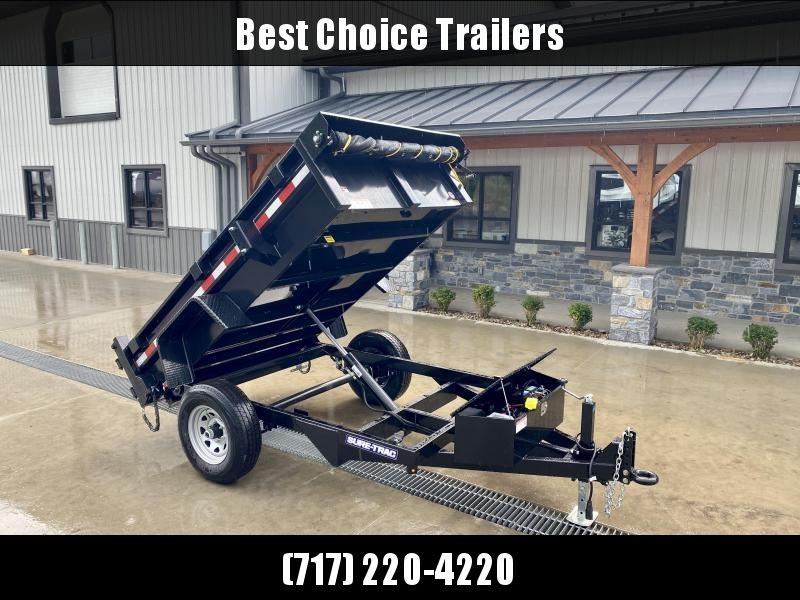 2022 Sure-Trac 5x8' Single Axle Dump Trailer 5000# GVW * TARP KIT * COMBO DOORS * ADJUSTABLE COPUPLER * DROP LEG JACK * INTEGRATED KEYWAY * SPARE TIRE MOUNT * TARP PREP * D-RINGS * DIAMOND PLATE FENDERS * POWER UP/POWER DOWN * TRIPLE TUBE TONGUE * BULLET