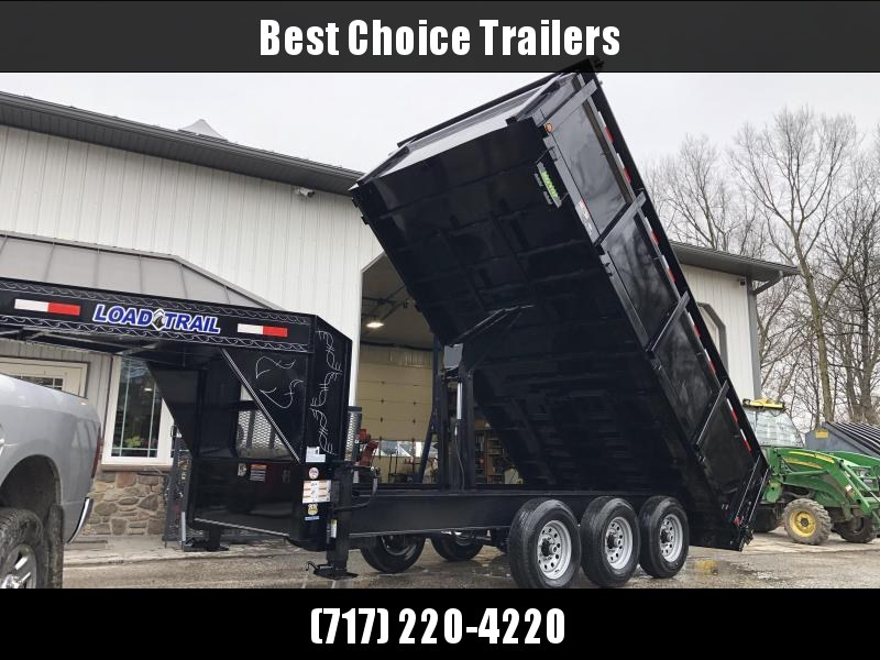 "2020 Load Trail 8x16' Gooseneck High Side Deckover Dump Trailer 14000# GVW * 4' HIGH SIDES * TRIPLE AXLE * DUAL 12K JACKS * FULL TOOLBOX * 10"" I-BEAM FRAME * TARP KIT * SCISSOR HOIST * 3-WAY GATE * 6"" TUBE BED FRAME * 10GA SIDES/FLOOR * PRIMER * DEXTER'S"