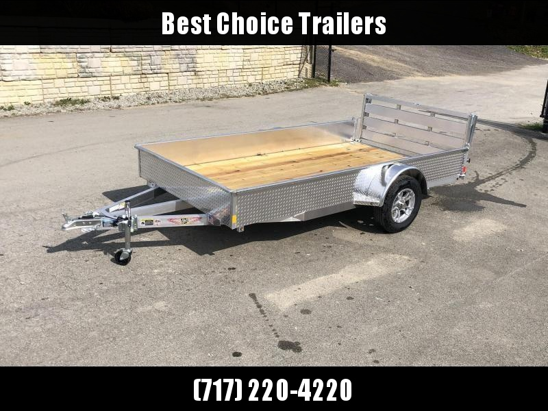 "2021 H and H 5x10' Aluminum Solid Side Utility Landscape Trailer 2990# GVW * SOLID ALUMINUM DIA PLATE SIDES * BI FOLD GATE * ALUMINUM WHEELS * TRIPLE TUBE TONGUE * TUBE TONGUE * SWIVEL JACKS * STAKE POCKETS * EXTENDED 54"" GATE"