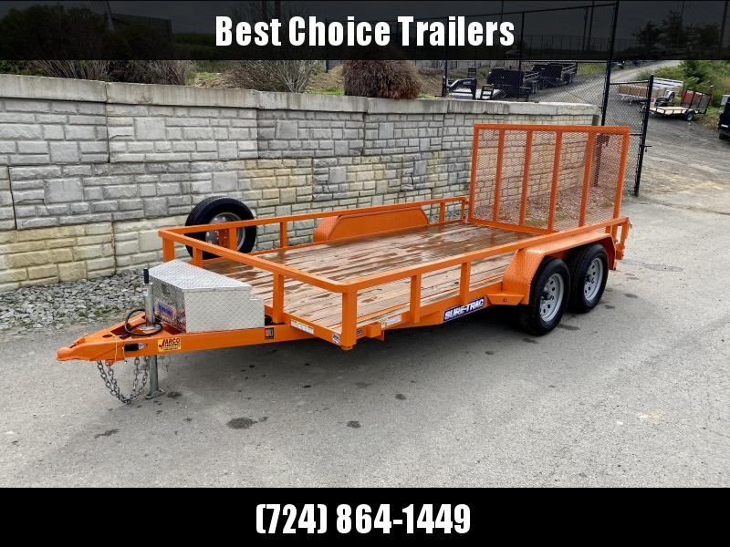 "USED 2019 Sure-Trac 7x14' Tube Top Utility Landscape Trailer 7000# GVW * 2"" TUBE TOP RAIL * 2X2"" TUBE GATE C/M + SPRING ASSIST + FOLD FLAT * TOOLESS GATE REMOVAL * SPARE TIRE * PROTECTED WIRING * SET BACK JACK * TRIPLE TUBE TONGUE * STAKE POCKETS * BULLET"
