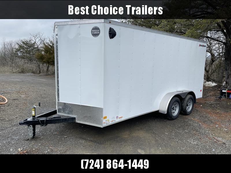 "2021 Wells Cargo 7x16' Fastrac Deluxe Enclosed Cargo Trailer 7000# GVW * WHITE EXTERIOR * RAMP DOOR * V-NOSE * .030 EXTERIOR * 6'6"" HEIGHT * TUBE STUDS * 3/8"" WALLS * 1 PC ROOF * 16"" O.C. WALLS * BULLET LED'S"