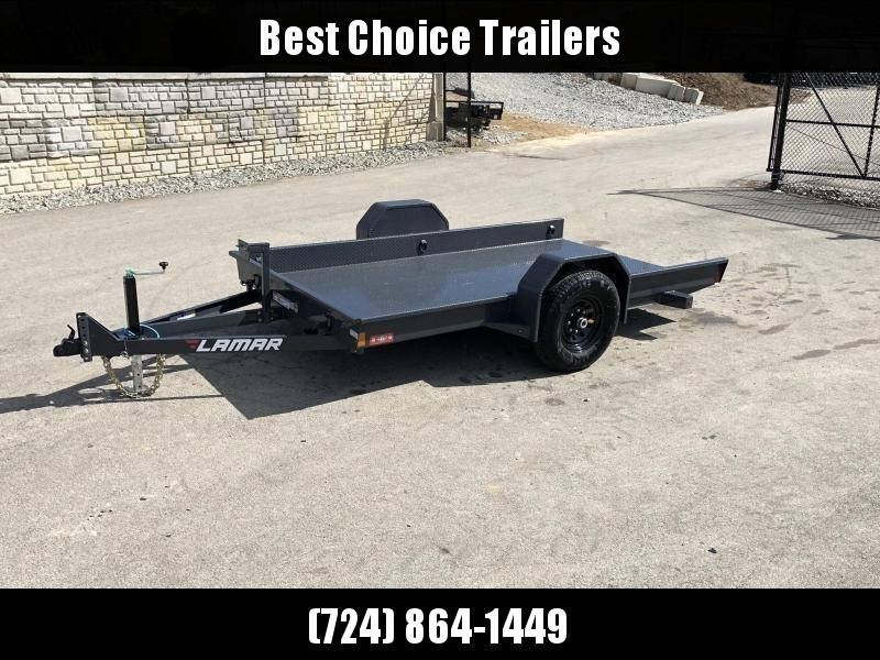 "2020 Lamar 59x10' Single Axle Scissor Hauler Gravity Tilt Equipment Trailer 7000# GVW * TOOLBOX * 7000# TORSION AXLE* STEEL FLOOR 3/16 * WRAPPED SIDES * EXTRA D-RINGS * SPARE MOUNT * CHARCOAL * FULL FRAME * 16"" 10-PLY TIRES * ADJUSTABLE COUPLER * DROP JAC"