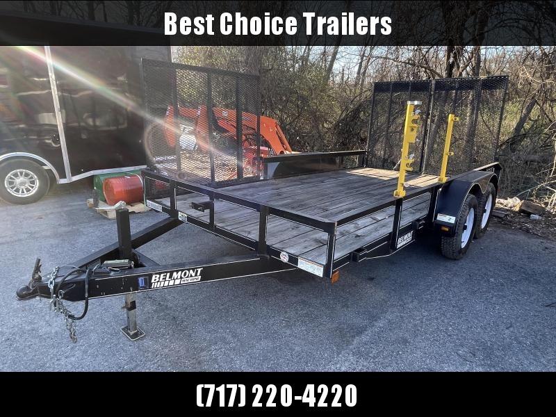 USED Belmont 7x14' Tandem Axle Utility Landscape Trailer 7000# GVW * FULL SPLIT GATE * SIDE GATE * LINE TRIMMER RACKS * 7000# DROP LEG JACK