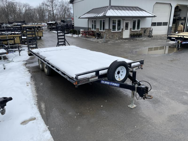 USED 2018 Sure-Trac 102x20 Beavertail Flatbed Deckover Trailer 9900# GVW * ADJUSTABLE COUPLER * DROP LEG JACK * SPARE TIRE & MOUNT * RUBRAIL/STAKE POCKETS/D-RINGS