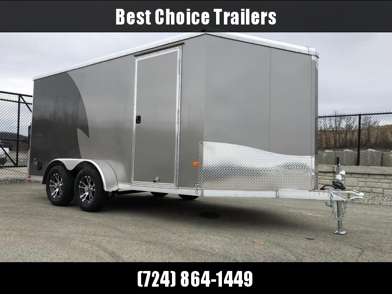 """2021 NEO Trailers 7x14' NAMR Aluminum Enclosed Motorcycle Trailer * PEWTER+CHARCOAL * VINYL WALLS * ALUMINUM WHEELS * +6"""" HEIGHT * NUDO FLOOR+RAMP * CABINET * 2-TONE * INTEGRATED FRAME * TIE DOWN SYSTEM"""