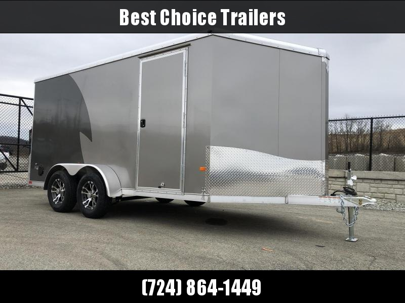 "2021 NEO Trailers 7x14' NAMR Aluminum Enclosed Motorcycle Trailer * PEWTER+CHARCOAL * VINYL WALLS * ALUMINUM WHEELS * +6"" HEIGHT * NUDO FLOOR+RAMP * CABINET * 2-TONE * INTEGRATED FRAME * TIE DOWN SYSTEM"