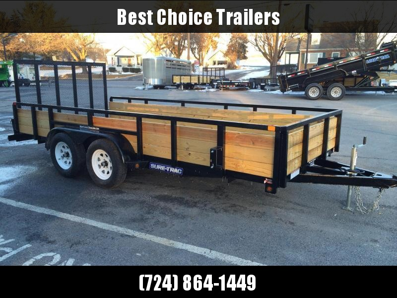 "2021 Sure-Trac 7x16' High Side Utility Landscape Trailer 7000# GVW * 24"" 3-BOARD HIGH SIDE * 2"" TUBE TOP RAIL * 2X2"" TUBE GATE C/M + SPRING ASSIST + FOLD FLAT * TOOLESS GATE REMOVAL * SPARE MOUNT * PROTECTED WIRING * SET BACK JACK * TRIPLE TUBE TONGUE * D"