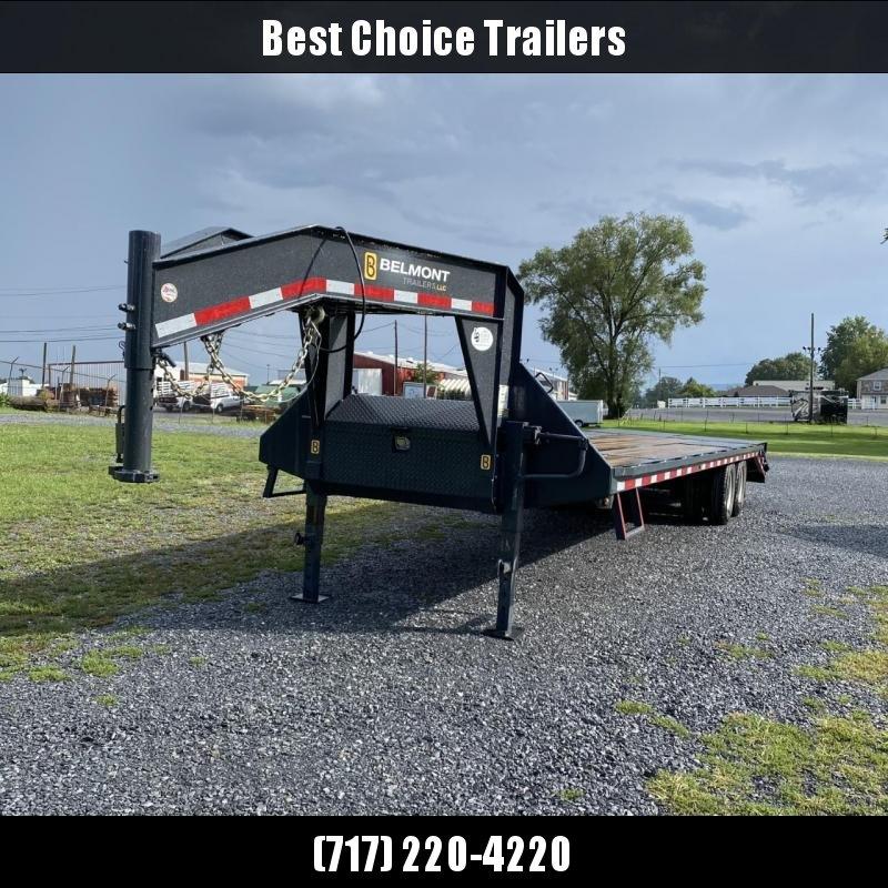 2021 Belmont 102x32' Gooseneck Beavertail Deckover Trailer 20000# GVW * DEXTER'S * PIERCED FRAME * FULL WIDTH RAMPS * SPARE TIRE * CHARCOAL * URETHANE PAINT