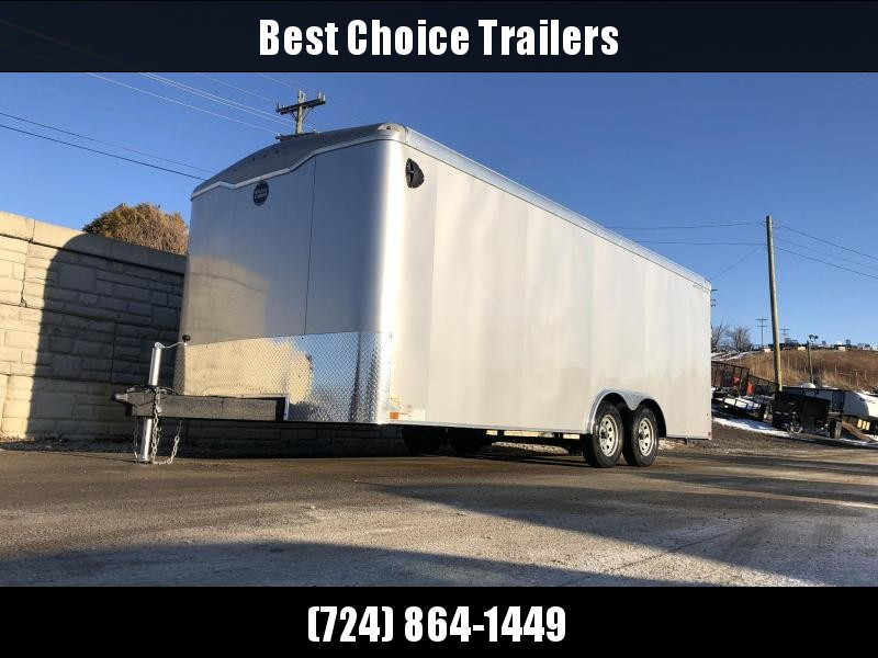 "2020 Wells Cargo 8.5x20' Road Force Enclosed Car Trailer 12000# GVW * WHITE EXTERIOR * 7' HEIGHT UPG * RAMP DOOR * ROUND TOP * SCREWLESS .030 EXTERIOR * TUBE STUDS * 1 PC ROOF * 16"" O.C. WALLS/FLOOR * RV DOOR * ARMOR GUARD * 12"" EXTENDED TRIPLE TONGUE"