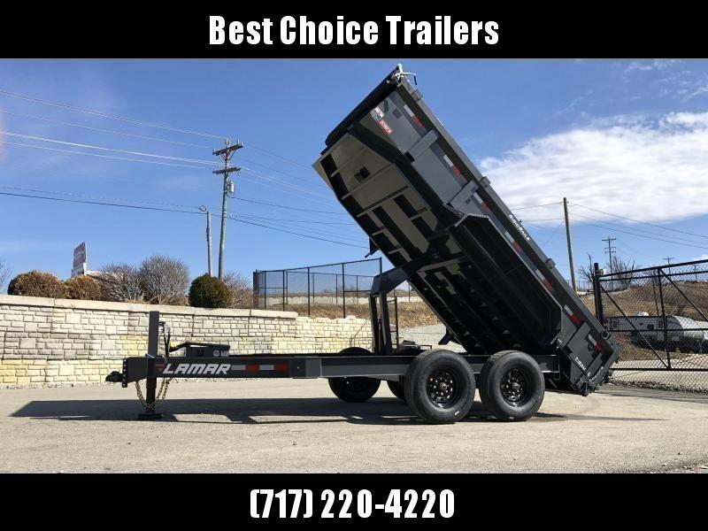 "2021 Lamar 7x14' Dump Trailer 14000# GVW * HYDRAULIC JACK * OIL BATH HUBS * REAR JACKSTANDS * 14-PLY TIRES * 12"" O.C. C/M * 7GA FLOOR  * TARP KIT * SCISSOR HOIST * 12K JACK * CHARCOAL * RIGID RAILS * HD COUPLER * NESTLED I-BEAM FRAME 28"" H * 3-WAY GATE"
