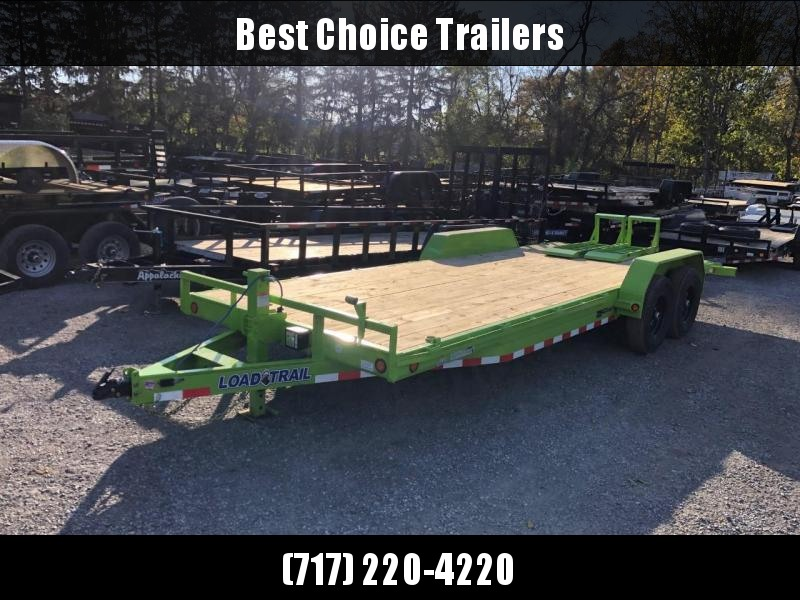 2021 Load Trail 7x22 Equipment Trailer 14000# GVW * LIME GREEN * XH8322072-EQ * STAND UP RAMPS * D-RINGS * COLD WEATHER * DEXTERS * 2-3-2 * POWDER PRIMER