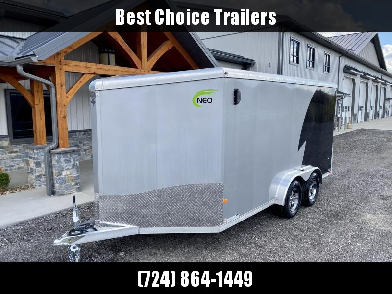 "2021 Neo 7.5x14' NAMR Aluminum Enclosed Motorcycle Trailer * +12"" HEIGHT - UTV PKG * VINYL WALLS * ALUMINUM WHEELS * LOADING LIGHT * BLACK+SILVER * TORSION SUSPENSION * SPORT TIE DOWN SYSTEM"