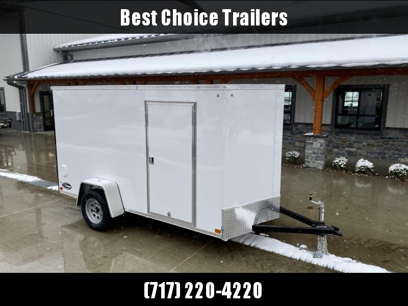 "2021 ITI Cargo 6x12' Enclosed Cargo Trailer 2990# GVW * WHITE EXTERIOR * .030 SEMI-SCREWLESS * 1 PC ALUMINUM ROOF * 3/4"" PLYWOOD FLOOR * 16"" STONEGUARD * HIGH GLOSS PAINTED FRAME"