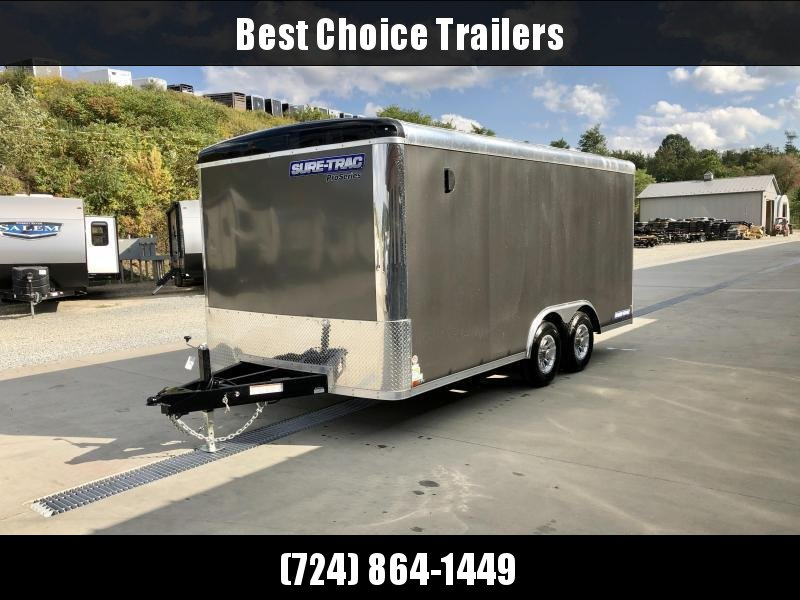 2021 Sure Trac 8.5x16' Round Top Enclosed Car Hauler Trailer 9900# * WHITE * TORSION * BACKUP LIGHTS * SCREWLESS * 1 PIECE ROOF * PLYWOOD * TUBE STUDS * ALUMINUM WHEELS * RV DOOR * 7K JACK