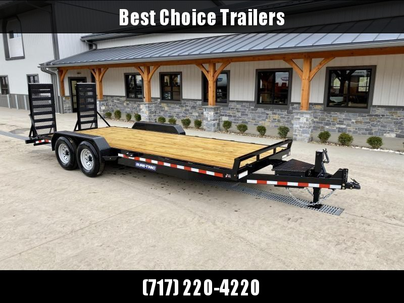 """2021 Sure-Trac 7x20' Equipment Trailer 14000# GVW * TOOLBOX * 12K JACK * DELUXE OVERWIDTH 4"""" CHANNEL RAMPS W/ MESH * RUBRAIL/STAKE POCKETS/D-RINGS * HD FENDERS * ADJUSTABLE CAST COUPLER * SPARE MOUNT * SEALED HARNESS"""