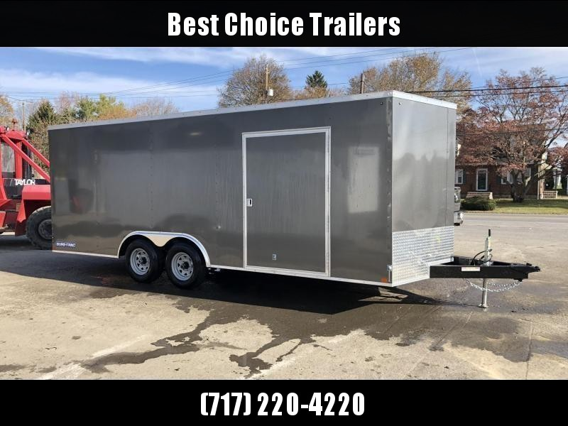 "2020 Sure-Trac 8.5x24' Enclosed Car Hauler Trailer 9900# GVW * CHARCOAL EXTERIOR * V-NOSE * RAMP * 5200# AXLES * .030 SEMI-SCREWLESS EXTERIOR * 16"" O.C. C/M * TUBE STUDS * 48"" RV DOOR * SET BACK JACK * UNDERCOATED * BULLET LED'S"