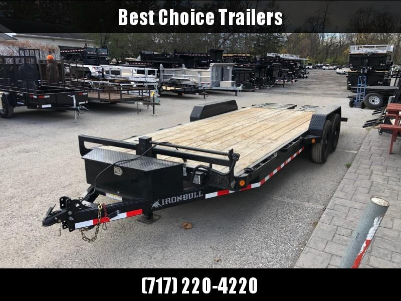 """USED 2020 Ironbull 7x20' Equipment Trailer 14000# GVW * TOOLBOX * FULL WIDTH RAMPS * REMOVABLE FENDERS * 16"""" O.C. STRUCTURAL CHANNEL C/M * RUBRAIL/STAKE POCKETS/PIPE SPOOLS/D-RINGS * ADJUSTABLE CAST COUPLER * 12K JACK * DEXTER'S * 2-3-2 WARRANTY"""