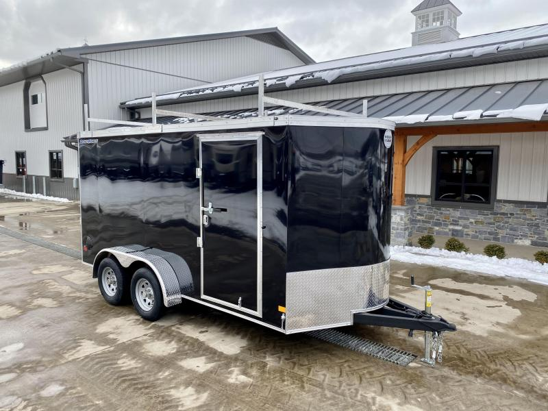 "2021 Wells Cargo 7x14' Road Force Enclosed Contractor Trailer 7000# GVW * BLACK * CONTRACTOR PACKAGE * 3 LADDER RACKS * 3/4"" WALLS * SCREWLESS .030 EXTERIOR * 1 PC ALUM ROOF * 6'6"" HEIGHT * TUBE STUDS * RV DOOR * ARMOR GUARD * EXTENDED TRIPLE TUBE TONG"