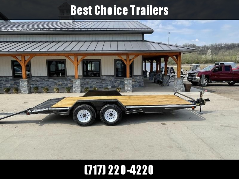 """2021 Corn Pro 7x18' Wood Deck Car Hauler 9900# GVW * REAR SLIDE OUT RAMPS * DIAMOND PLATE FENDERS * RUNNING BOARDS * RUBRAIL/STAKE POCKETS/CHAIN SPOOLS * DEMCO EZ LATCH COUPLER * CHAIN TRAY * DIAMOND PLATE DOVETAIL * URETHANE PAINT * 16"""" O.C. C/M"""