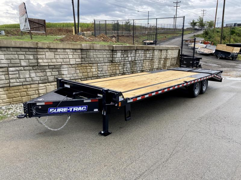 """2020 Sure-Trac 102x25' HD Beavertail Deckover Trailer 15000# GVW * FULL WIDTH RAMPS (STAND UP OR FLIPOVER) * INTEGRATED TOOLBOX * DUAL JACKS * 12"""" I-BEAM MAINFRAME * PIERCED FRAME * RUBRAIL/STAKE POCKETS/PIPE SPOOLS/10 D-RINGS * CROSS TRAC BRACING"""