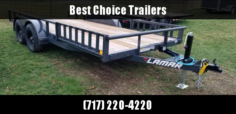 "2021 Lamar 7x16' ATV Utility Trailer 7000# GVW * CHANNEL FRAME * ATV SIDE RAMPS * CHARCOAL * SWIVEL JACK * CAST COUPLER * COLD WEATHER HARNESS * 4"" CHANNEL TONGUE * STAKE POCKETS * TEARDROP FENDERS * BULLET LED'S"