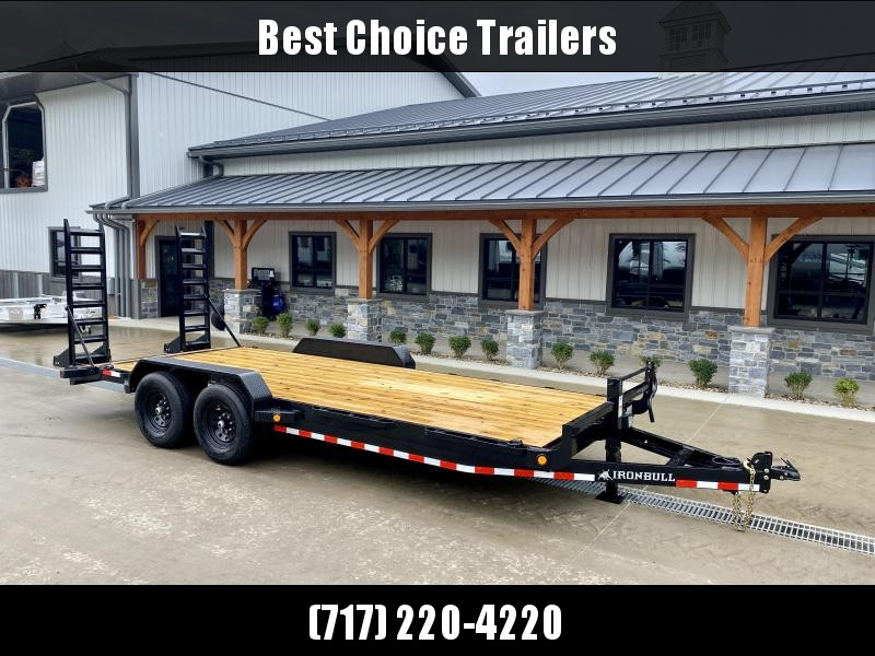 """2022 Ironbull 7x20' Equipment Trailer 14000# GVW * KNIFEEDGE RAMP W/ ADJUSTABLE SUPPORT * REMOVABLE FENDERS * 16"""" O.C. STRUCTURAL CHANNEL C/M * RUBRAIL/STAKE POCKETS/PIPE SPOOLS/D-RINGS * ADJUSTABLE CAST COUPLER * 12K JACK * DEXTER'S * CLEARANCE"""