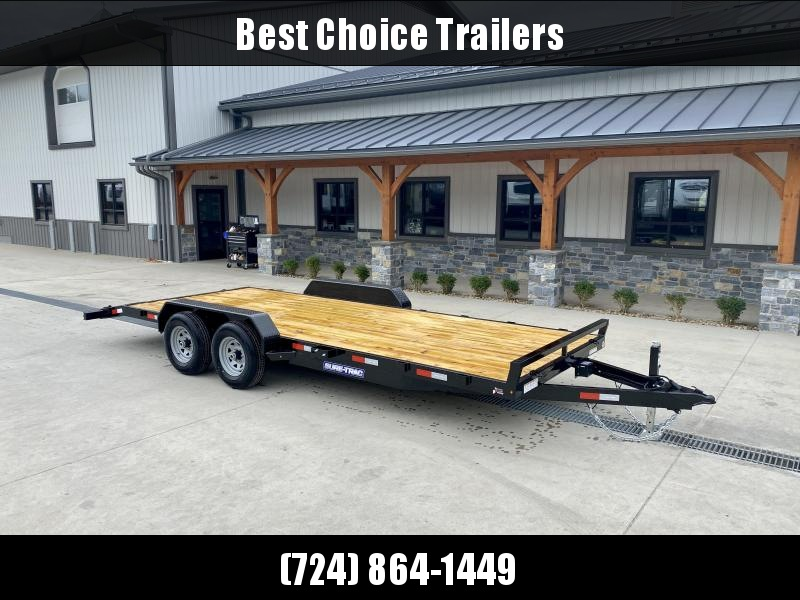 2021 Sure-Trac 7x20' Wood Deck Car Hauler 9900# GVW * REAR SLIDE OUT PUNCH PLATE FINGERJOINTED RAMPS * DIAMOND PLATE FENDERS * SEALED WIRING HARNESS * SET BACK JACK * STAKE POCKETS/D-RINGS * DIAMOND PLATE DOVETAIL * CLEARANCE