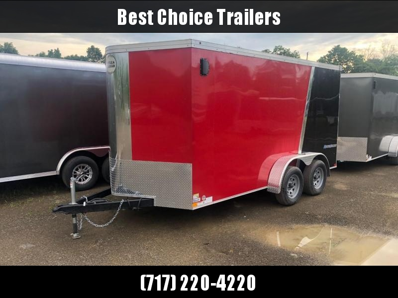 """2020 Wells Cargo 7x14' Road Force Enclosed Cargo Trailer 7000# GVW * BLACK & RED EXTERIOR * FLASH PACKAGE * RAMP DOOR * V-NOSE * SCREWLESS .030 EXTERIOR * 6'6"""" HEIGHT * TUBE STUDS * 1 PC ROOF * 16"""" O.C. WALLS/FLOOR * RV DOOR * ARMOR GUARD * BULLET LED'S"""