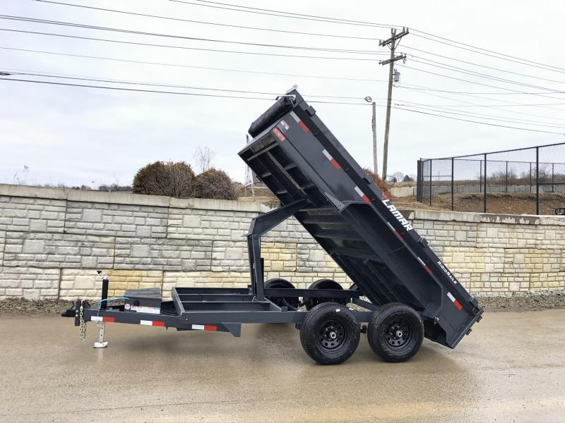 2021 Lamar 77x12' 9990# GVW Low Profile Dump Trailer * SCISSOR HOIST * DROP JACK * DELUXE TARP KIT * ADJUSTABLE COUPLER * CHARCOAL * SPARE MT * RIGID RAILS * HARD TO FIND WIDTH!!