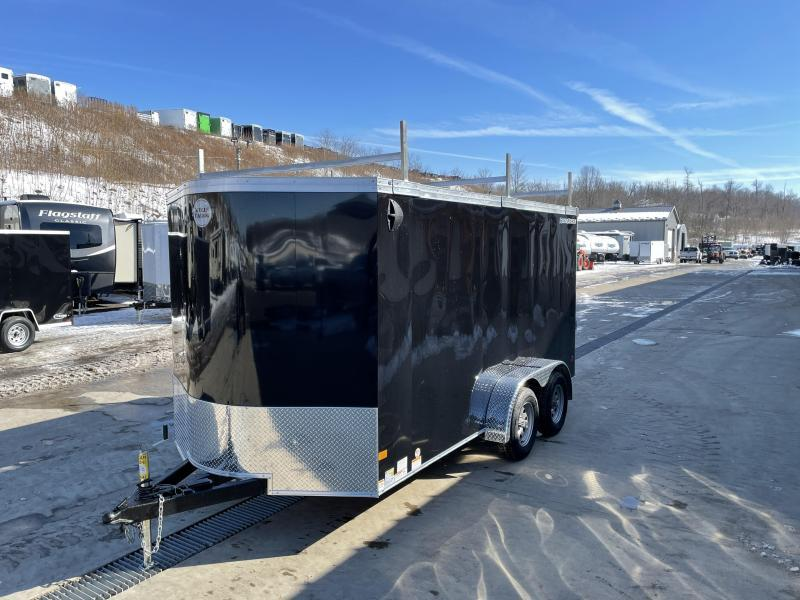 """2021 Wells Cargo 7x14' Road Force Enclosed Contractor Trailer 7000# GVW * BLACK * CONTRACTOR PACKAGE * 3 LADDER RACKS * 3/4"""" WALLS * SCREWLESS .030 EXTERIOR * 1 PC ALUM ROOF * 6'6"""" HEIGHT * TUBE STUDS * RV DOOR * ARMOR GUARD * EXTENDED TRIPLE TUBE TONG"""